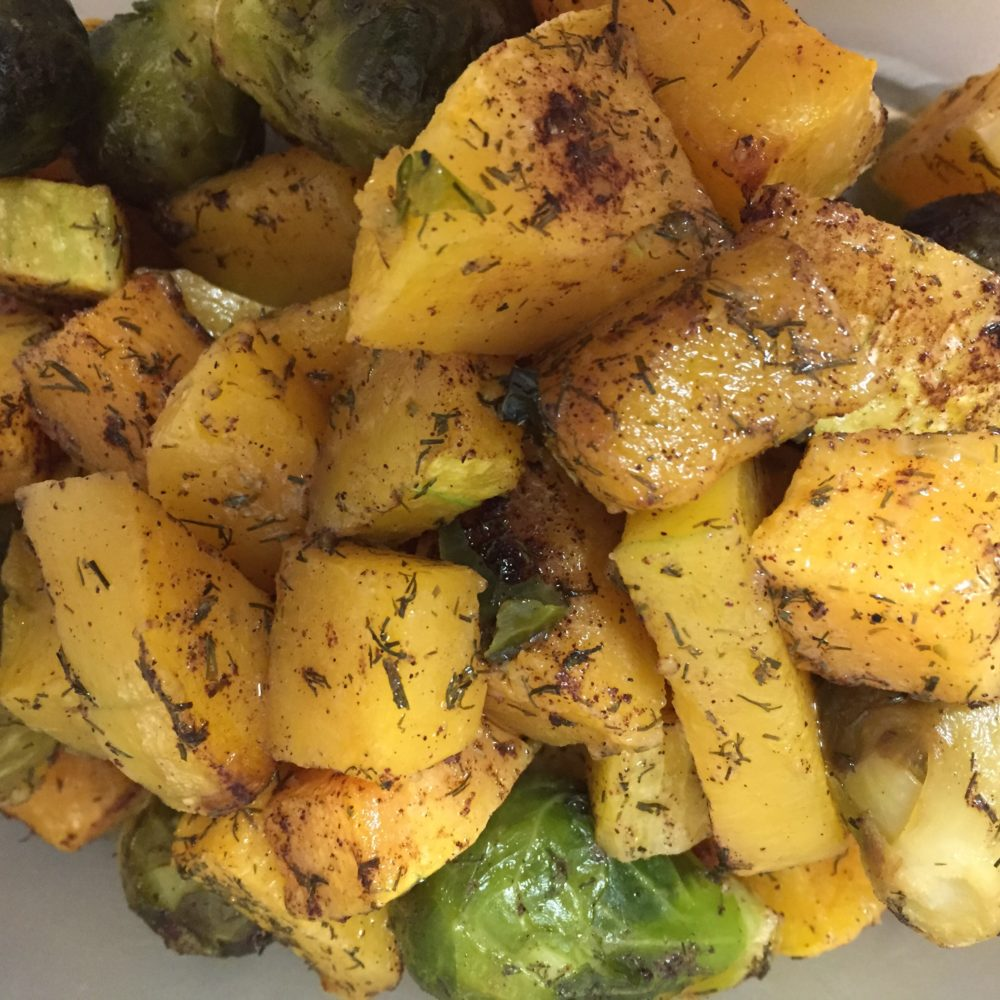 Dill & Garlic Butternut Squash with Brussels Sprouts