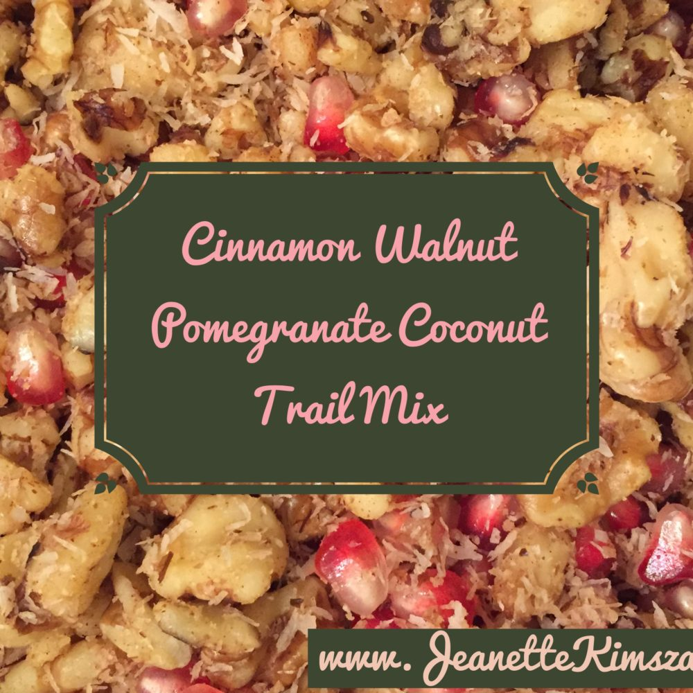 Cinnamon, Walnut, Pomegranate, Coconut Trail Mix