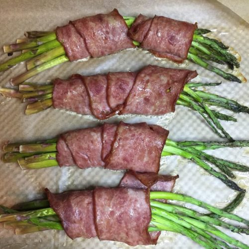 Asparagus spears Wrapped In Turkey Bacon backed on a baking pan | Root Nutrition Education and Counseling