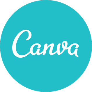 "Blue Circle with the word ""Canva"" written in white in the center 