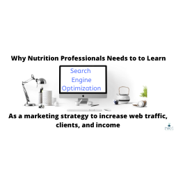"""Computer with words """"Search Engine Optimization"""" on the screen and Black Letters saying """"Why Nutrition professionals need to learn SEO as a marketing strategy to increase traffic, clients, and income"""" Affordable SEO Packages Every Nutrition Professional Needs To Learn   Root Nutrition & Education"""