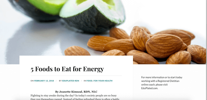 """says """"5 Foods to Eat for Energy"""" with a picture of Sliced Avocado and Almonds 