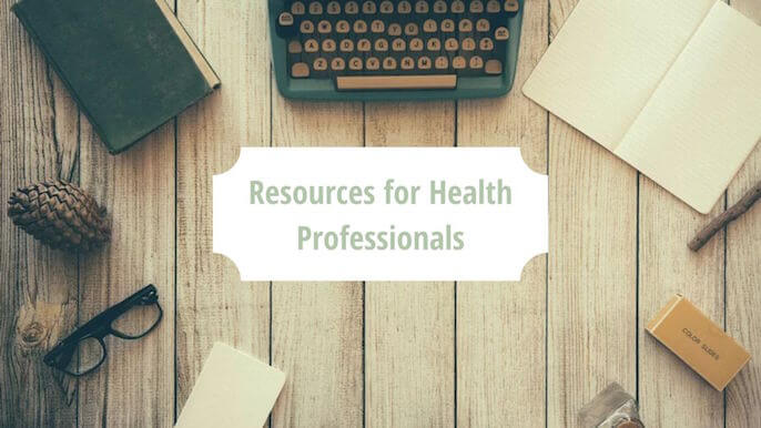 """Typewrier with a paper that says """"resources for health professionals"""" 